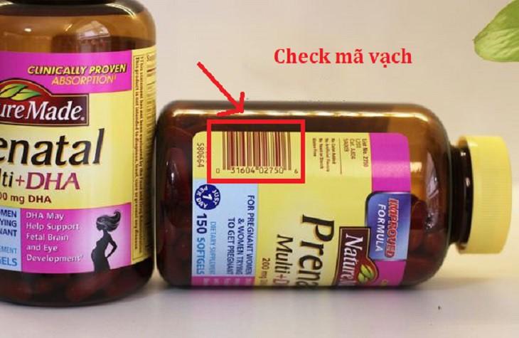 Cách check mã vạch của Nature Made Prenatal Multi + DHA