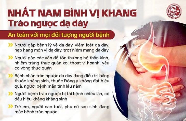 Nhất Nam Bình Vị Khang trị trào ngược dạ dày đã giúp cho 98,6% bệnh nhân thoát khỏi nỗi ám ảnh bệnh tật chỉ sau 45 ngày dùng thuốc.