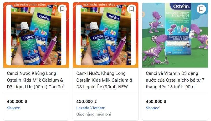 Ostelin Kid Milk Calcium & Vitamin D3 Liquid 90ml đang được bán với giá bao nhiêu