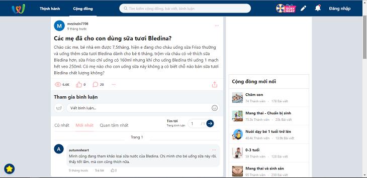 Những chia sẻ việc sử dụng sữa ngũ cốc Bledina trên Webtretho