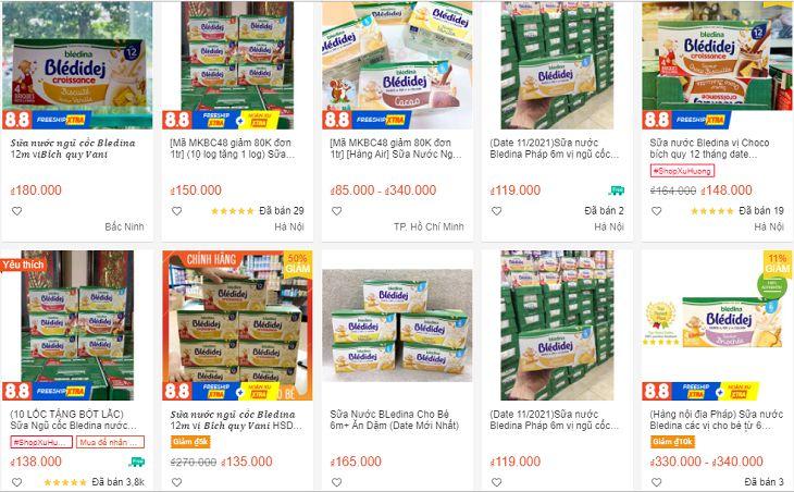 Sữa ngũ cốc Bledina được bán với nhiều mức giá khác nhau