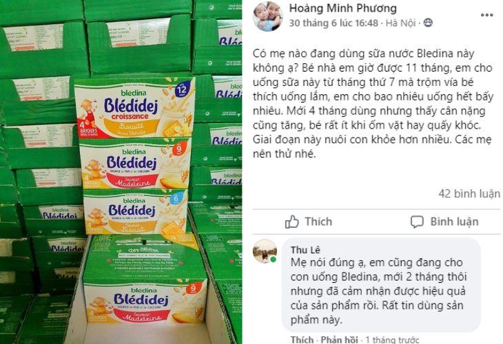 Trên Facebook cũng có nhiều review về sữa
