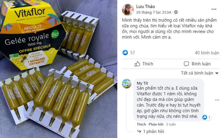 bài viết về Vitaflor trên mạng xã hội Facebook