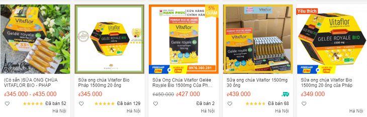 Sữa ong chúa Vitaflor hiện đang được bán trên thị trường với mức giá khác nhau