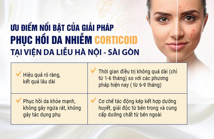 Ưu điểm vượt trội của giải pháp phục hồi da nhiễm Corticoid tại Viện Da liễu Hà Nội - Sài Gòn