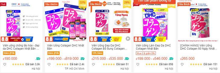 Viên uống Collagen DHC có nhiều mức giá khác nhau