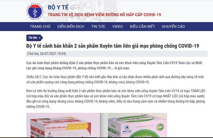 Bộ Y tế đưa tin cảnh báo về hai sản phẩm giả mạo phòng chống COVID-19