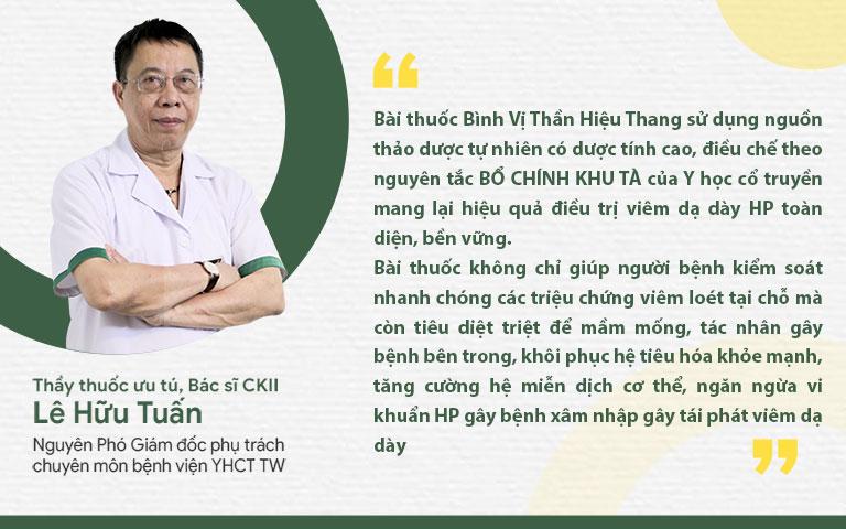 Thầy thuốc ưu tú, bác sĩ Lê Hữu Tuấn nhận định về bài thuốc Bình Vị Thần Hiệu Thang