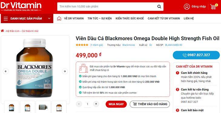 Blackmores Omega Double High Strength Fish Oil có giá khoảng 500.000 đồng