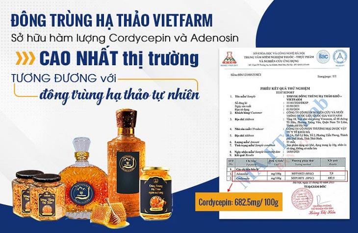 Giấy kiểm định hàm lượng hoạt chất trong Đông trùng hạ thảo Vietfarm