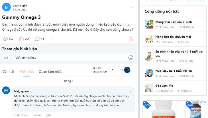 Bài thảo luận về Gummy Omega 3 trên diễn đàn Webtretho