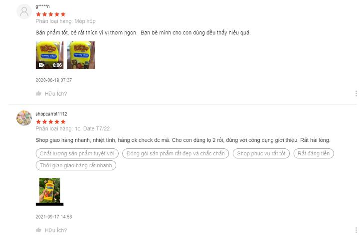 Một số đánh giá của khách hàng trên Shopee