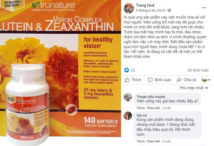 Facebook có nhiều bài trao đổi về Lutein & Zeaxanthin Vision Complex.