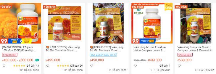 Lutein Zeaxanthin được bán với giá khoảng 400.000 - 530.000 đồng