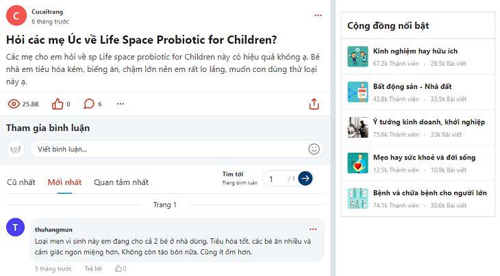 Bài hỏi đáp về men vi sinh của Life Space trên Webtretho