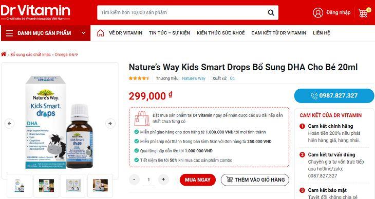 Nature's Way Kid Smart Drop DHA có giá khoảng 300.000 đồng