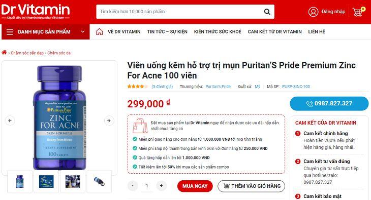 Giá mỗi lọ Puritan's Pride Premium Zinc For Acne đang được bán khoảng 300.000 đồng