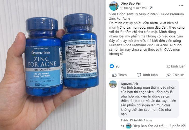 Hỏi đáp về Puritan's Pride Premium Zinc For Acne trên Facebook